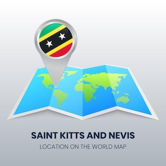 Icona della posizione di saint kitts e nevis sulla mappa del mondo