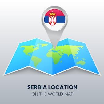 Icona della posizione della serbia sulla mappa del mondo