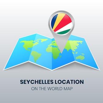 Icona della posizione delle seychelles sulla mappa del mondo, icona del perno rotondo delle seychelles