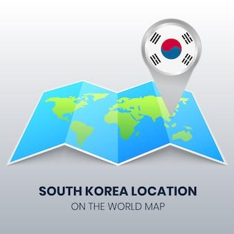 Icona della posizione della corea del sud sulla mappa del mondo, icona del perno rotondo della corea del sud