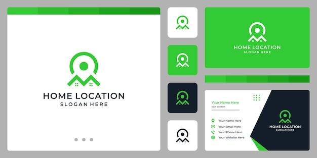 Simbolo dell'icona della posizione e logo della casa. modelli di progettazione di biglietti da visita.