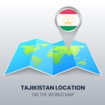 Icona della posizione del tagikistan sulla mappa del mondo, icona del perno rotondo del tagikistan