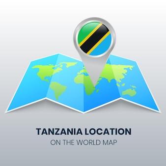 Icona della posizione della tanzania sulla mappa del mondo