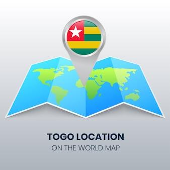 Icona della posizione del togo sulla mappa del mondo, icona del perno rotondo del togo