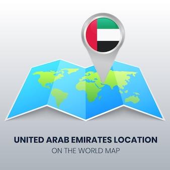 Icona di posizione degli emirati arabi uniti sulla mappa del mondo, icona pin rotondo degli emirati arabi uniti