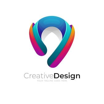 Logo posizione e 3d colorati, loghi pin, icona mappa