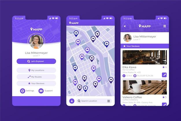 Modello di app per dispositivi mobili di posizione
