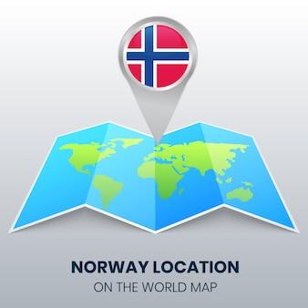 Posizione della norvegia sulla mappa del mondo, icona spilla rotonda della norvegia