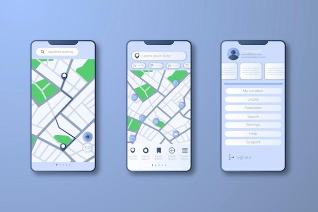 Interfaccia dell'app tracker di posizione