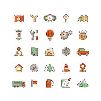 Posizione e viaggiare icone vettoriali piatte