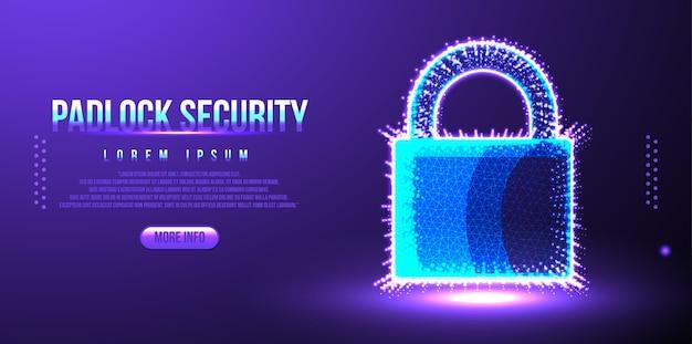 Serratura, sicurezza del lucchetto dalla criminalità informatica, design wireframe low poly