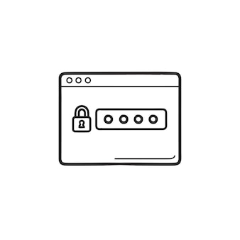 Blocco e password nell'icona di doodle di contorni disegnati a mano della finestra del browser. accesso privato, concetto di sicurezza internet internet