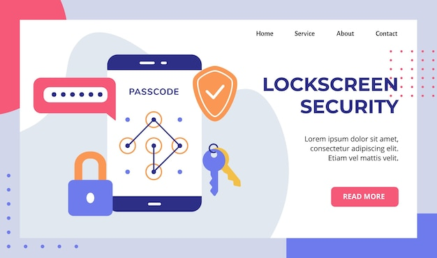 Blocco schermo sicurezza password passcode chiave lucchetto sullo schermo dello smartphone campagna per la pagina di destinazione della home page del sito web