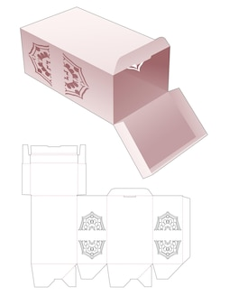 Scatola di imballaggio con punto chiuso e modello fustellato con stencil mandala