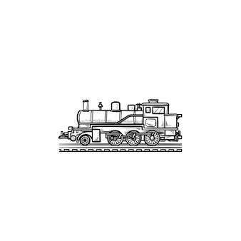 Icona di doodle di contorni disegnati a mano locomotiva. treno d'epoca, trasporto ferroviario, concetto di viaggio in treno a vapore