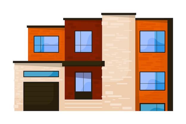 Alloggio e alloggio edificio facciata isolata su bianco