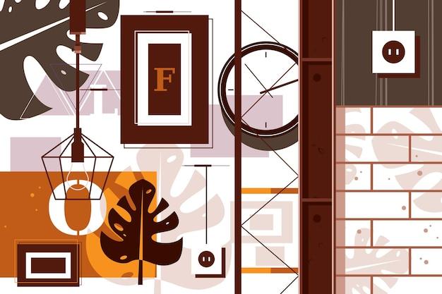 Loft in illustrazione vettoriale di interior design. camera decorata con un concetto di stile piatto in stile urbano moderno. open space ed elementi industriali nell'arredo