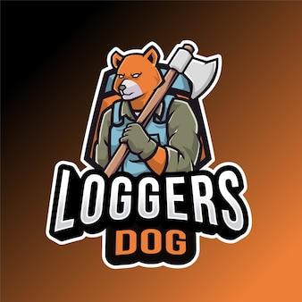 Taglialegna cane modello di logo isolato su arancione e nero