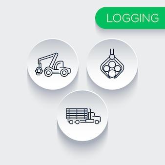 Registrazione, silvicoltura, legname, mietitrice di alberi, icone della linea di camion di registrazione, illustrazione vettoriale