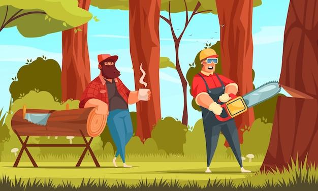 Boscaioli dell'industria del legname che lavorano nella foresta bevendo caffè segando tronchi d'albero