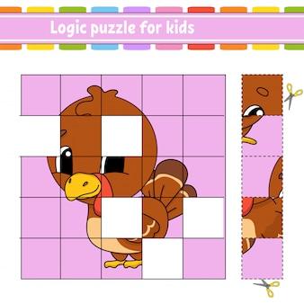 Puzzle logico per bambini. uccello di tacchino. foglio di lavoro per lo sviluppo dell'istruzione.