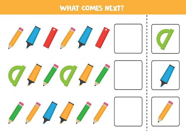 Gioco logico con matite, evidenziatori e righelli. continua la sequenza.