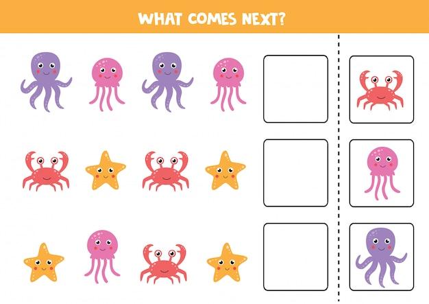 Gioco logico con granchio di mare, polpo, meduse e stelle marine. continua la sequenza.