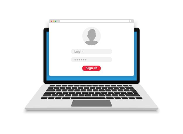 Modulo di accesso sullo schermo del laptop. pagina modulo di login e password. utente di accesso all'account. accedi all'account. campi nome utente e password per l'autorizzazione. design piatto. illustrazione.