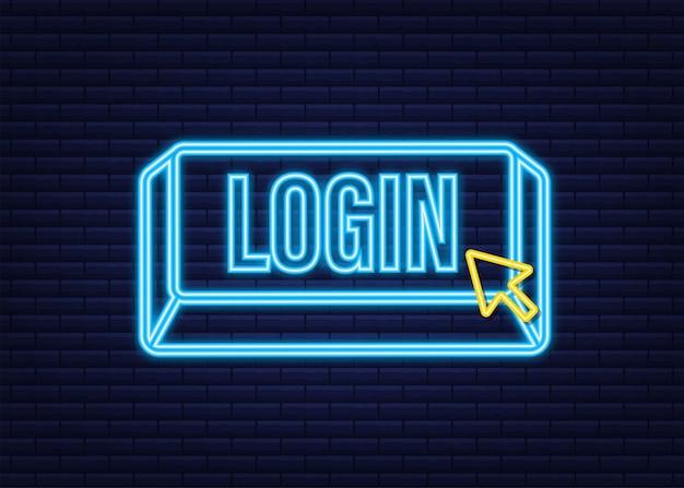 Login. icona al neon. banner web. freccia, icona del cursore. icona di vettore della freccia. fare clic a mano illustrazione di riserva di vettore.