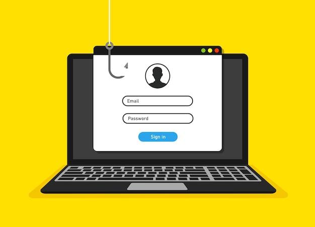 Pagina di accesso sullo schermo del laptop e concetto di hacking