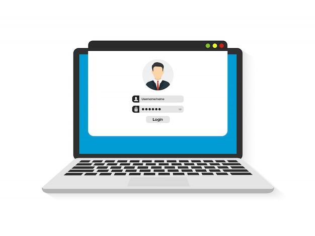 Login e password. sistema del modulo di login di autenticazione