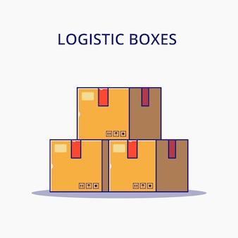 Scatole logistiche del fumetto. concetto dell'icona di logistica isolato.