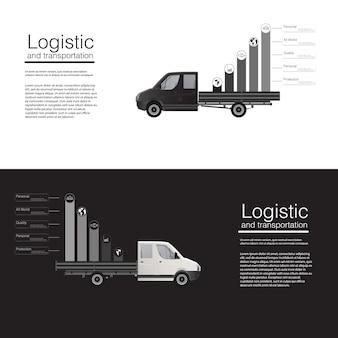 Modello di furgone di consegna merci auto banner concetto logistico. modello di illustrazione astratta su sfondo grigio. . Vettore Premium