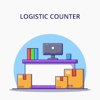 Servizio di sportello logistico e scatole del fumetto. concetto dell'icona di logistica isolato.