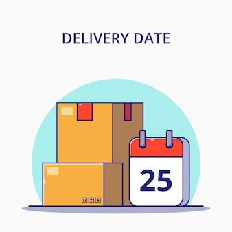 Date di consegna logistica con calendario e scatole del fumetto. concetto dell'icona di logistica.