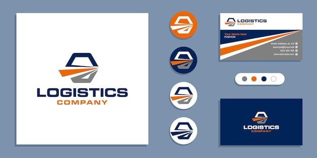 Consegna logistica, logo di spedizione veloce e modello di progettazione del biglietto da visita