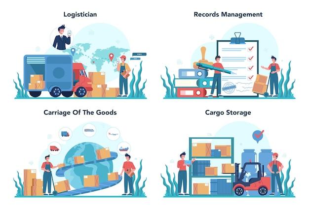 Insieme di concetto di servizio logistico e di consegna. idea di trasporto e distribuzione. caricatore in uniforme che trasporta un carico. concetto di servizio di trasporto.