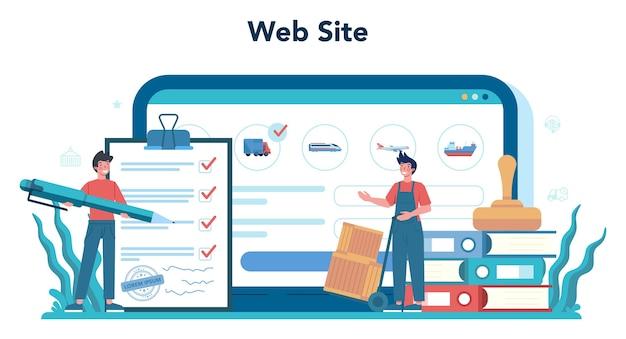 Piattaforma o servizio online di servizi di logistica e consegna. idea di trasporto e distribuzione. sito web.