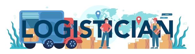 Concetto di intestazione tipografica di servizio logistico e di consegna. idea di trasporto e distribuzione. caricatore in uniforme che trasporta un carico. concetto di servizio di trasporto.