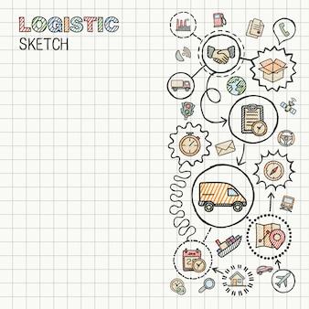 Icone integrate di tiraggio della mano di logistica messe su carta. illustrazione infografica schizzo colorato. pittogramma di colore doodle collegato. distribuzione, spedizione, trasporto, servizi concetto interattivo