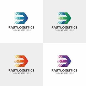 Logistica design del logo. consegna, veloce, logo freccia
