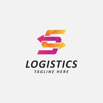 Logo logistico lettera s e combinazione di frecce in stile piatto logo design template illustrazione vettoriale
