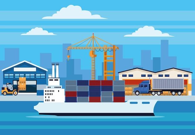 Servizio logistico scena marittima