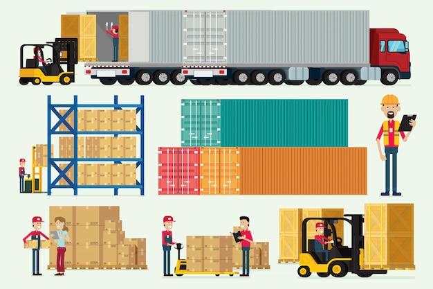 Magazzino logistico con i camion degli operai e vettore dell'illustrazione del contenitore di carico del carrello elevatore