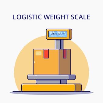 Illustrazione di vettore del fumetto della bilancia del peso logistico. concetto dell'icona di logistica isolato.