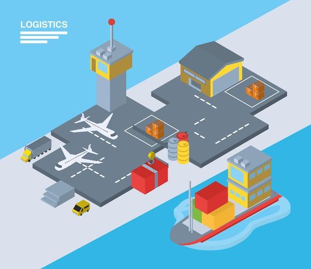 Logistica e consegna isometrica aeroporto e nave design, trasporto, spedizione e tema del servizio