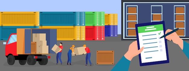 Illustrazione di servizio di consegna di logistica, mani piane del lavoratore del fumetto con la lista di consegna, persone del consegnatore che caricano le scatole al camion furgone