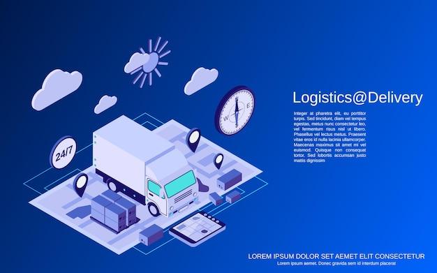Logistica, consegna, trasporto illustrazione vettoriale isometrico piatto concetto