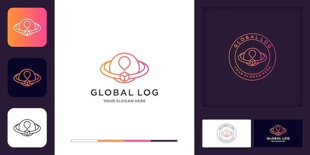 Logo della logistica, scatola che circonda il mondo e design del biglietto da visita
