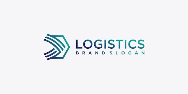 Il logo logistico con il concetto di arte della linea creativa viene inviato velocemente vettore premium
